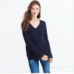 Madewell navy ribbed sweater. size L